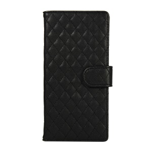 Grid Pattern Leather Wallet Mobile Case for Huawei Honor View 20 / V20 (China) - Black