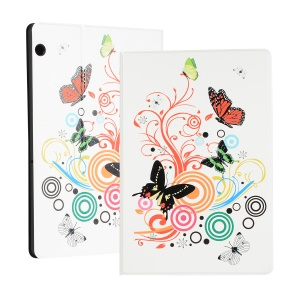 Pattern Printing PU Leather Stand Tablet Case for Huawei MediaPad T5 10 - Butterfly and Circle