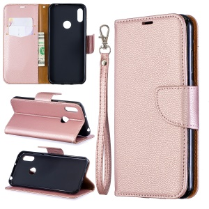 Litchi Skin Leather Wallet Case for Huawei Y6 (2019) - Rose Gold