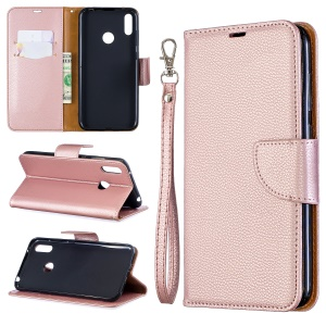 Litchi Skin PU Leather Stand Mobile Cover for Huawei Y7 (2019) / Y7 Prime (2019) - Rose Gold