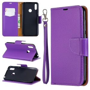 Litchi Skin PU Leather Stand Mobile Cover for Huawei Y7 (2019) / Y7 Prime (2019) - Purple