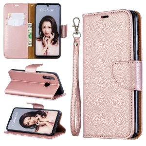 Litchi Skin PU Leather Stand Protection Shell for Huawei P30 Lite / nova 4e - Rose Gold