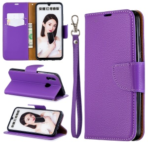 Litchi Skin Leather Wallet Protective Copertura for Huawei P Smart (2019) / 10 Lite / Nova Lite 3 (Japan) - Purple
