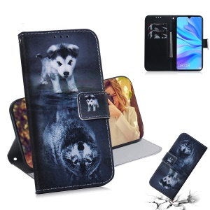 Pattern Printing Wallet Stand Protective Leather Case for Huawei P30 Lite / nova 4e / P30 Lite New Edition - Dog