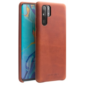 QIALINO Genuine Leather Coated PC Hard Case for Huawei P30 Pro - Brown
