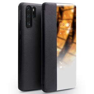 QIALINO for Huawei P30 Pro View Window Cowhide Leather Smart Phone Case - Black