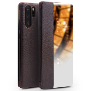 QIALINO for Huawei P30 Pro View Window Cowhide Leather Smart Phone Case - Coffee