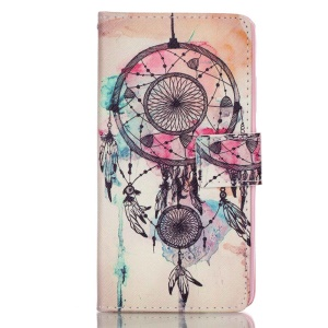 Leather Wallet Stand Case for Huawei P9 - Swaying Dream Catcher