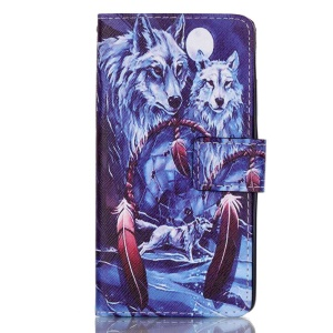 Leather Wallet Stand Case for Huawei P9 - Wolf and Dream Catcher