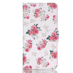 Leather Wallet Stand Phone Shell for Huawei P9 - Blossom