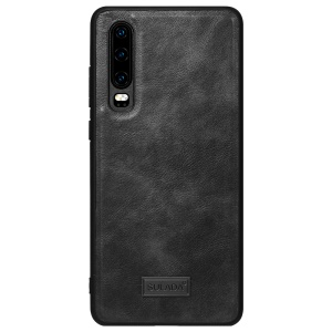 SULADA Cowhide Leather Coated TPU Case for Huawei P30 - Black