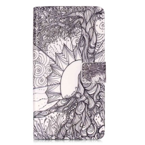 Embossment Leather Wallet Stand Case for Huawei P9 Lite - Tree of Life Zentangle