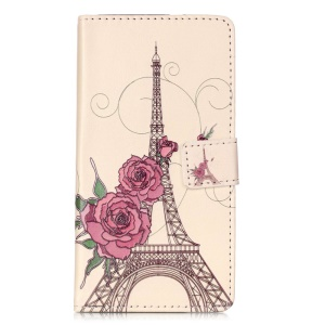 Embossment Leather Wallet Stand Case for Huawei P9 Lite - Eiffel Tower and Roses