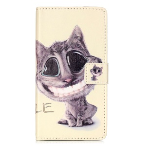 Embossment Leather Wallet Stand Case for Huawei P9 Lite - A Cat with Big Eyes