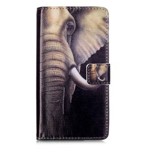 Embossment Leather Wallet Stand Case for Huawei P9 Lite - Elephant
