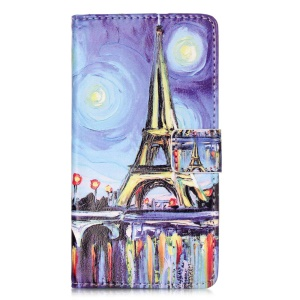Embossment Leather Wallet Stand Case for Huawei P9 Lite - Oil Painting