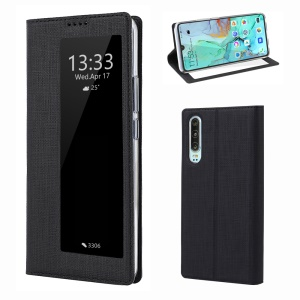 VILI DMX Folding Stand View Window Leather Phone Cover Case for Huawei P30 - Black