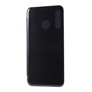 View Window Plated Mirror Surface Leather Stand Case for Huawei P30 Lite / nova 4e - Black