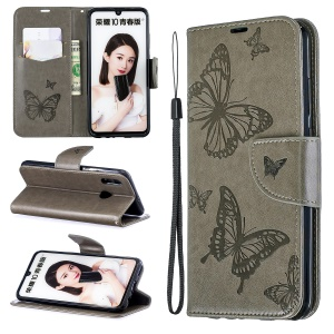 For Huawei P Smart (2019) / Honor 10 Lite PU Leather Imprint Butterflies Phone Case - Grey