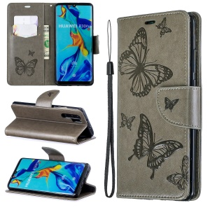 For Huawei P30 Pro PU Leather Imprint Butterflies Phone Case - Grey