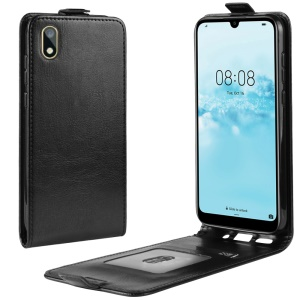 Crazy Horse Vertical Flip Leather Protective Case for Huawei Y5 (2019) / 8S - Black