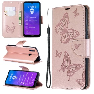 Imprint Butterfly Leather Wallet Case for Huawei Y7 (2019) / Y7 Prime (2019) - Rose Gold
