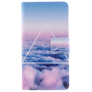 Pattern Printing Leather Wallet Phone Case for Huawei P9 Lite - Clouds and Triangle