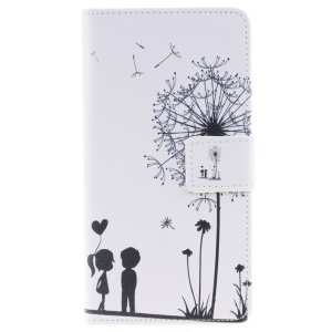 Pattern Printing Leather Wallet Stand Flip Case for Huawei P9 Lite - Dandelion and Sweet Lover