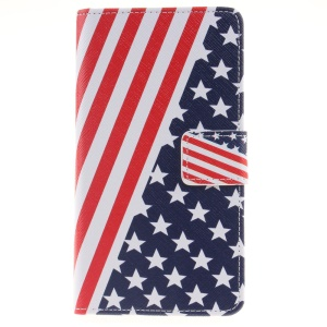 Pattern Printing Leather Wallet Stand Cover for Huawei P9 Lite - USA Flag