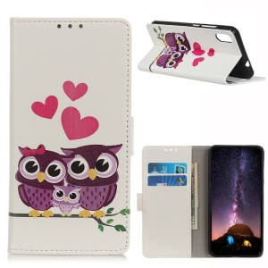 Pattern Printing Stand Leather Mobile Shell for Huawei Y5 (2019) - Sweet Owl Family
