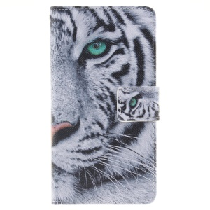 Wallet Leather Stand Case for Huawei P9 Lite - Fierce Tiger