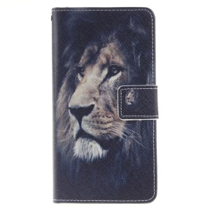 Wallet Leather Stand Cover for Huawei P9 Lite - Lion Pattern