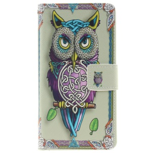 Wallet Leather Magnetic Case for Huawei P9 Lite - Adorable Owl