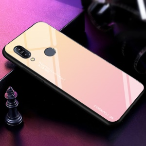Gradient Color Glass + PC + TPU Hybrid Case for Asus Zenfone Max (M2) ZB633KL - Gold / Pink