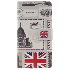 Flip Leather Wallet Stand Shell for Huawei P9 - UK Flag and London Buildings