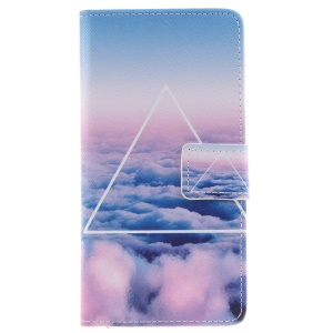 PU Leather Wallet Flip Cover for Huawei P9 - Triangle and Clouds