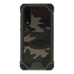 Camouflage Leather Coated PC+TPU+PU Leather Combo Case for Huawei P30 - Army Green