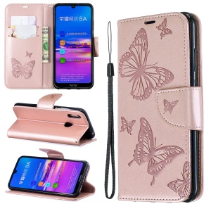 Imprint Butterfly PU Leather Wallet Flip Case with Strap for Huawei Y6 (2019, with Fingerprint Sensor) / Y6 Prime (2019) / Honor 8A - Rose Gold