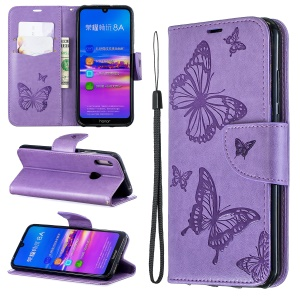 Imprint Butterfly PU Leather Wallet Flip Case with Strap for Huawei Y6 (2019, with Fingerprint Sensor) / Y6 Prime (2019) / Honor 8A - Purple