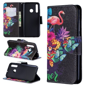 For Huawei P Smart Plus 2019 / Enjoy 9s / Honor 10i Pattern Printing PU Leather Stand Phone Cover - Crane and Flowers