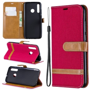 Assorted Color Jeans Cloth Wallet Stand Leather Case for Huawei P Smart Plus 2019 / Enjoy 9s / Honor 10i - Red