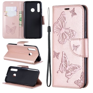 Imprint Butterfly Leather Wallet Case for Huawei P Smart Plus 2019 / Enjoy 9s/ Maimang 8 / Honor 10i - Rose Gold