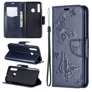 Imprint Butterfly Leather Wallet Case for Huawei P Smart Plus 2019 / Enjoy 9s/ Maimang 8 / Honor 10i - Dark Blue