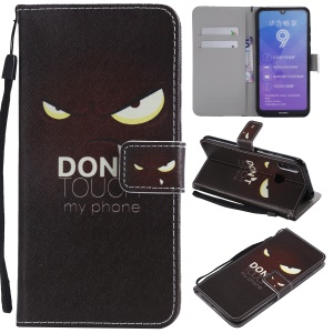 Pattern Printing Wallet Stand Leather Phone Case for Huawei Y7 Pro (2019)/Enjoy 9/Y7 (2019) - Angry Eyes