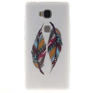 Soft TPU IMD Gel Cover for Huawei Honor Play 5X/Honor 5X - Colorful Feathers