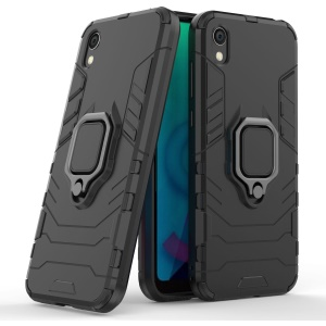 Cool Guard Ring Holder Kickstand PC TPU Hybrid Case for Huawei Honor 8S / Y5 (2019) - Black