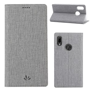 VILI DMX Cross Texture Leather Card Holder Stand Cover for Huawei Y6 (2019, with Fingerprint Sensor)/ Y6 Prime (2019)/ Honor 8A - Grey