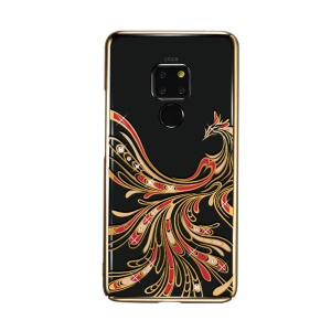 KAVARO Authorized Swarovski Crystals Decor Electroplated Phoenix Pattern Plastic Hard Cover Shell for Huawei Mate 20 - Gold