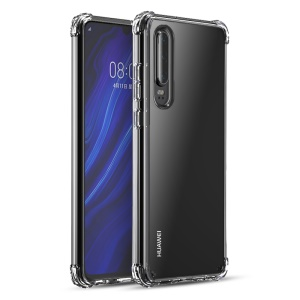 IPAKY Drop-resistant Clear TPU + Shell Do Telefone Do PC Para Huawei P30 - Branco Transparente