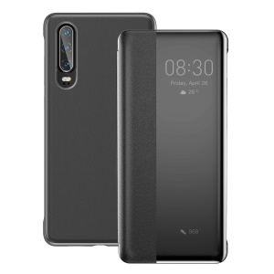 BASEUS Intelligent Auto Wake & Sleep Visual Window Smart Leather Phone Case for Huawei P30 - Black